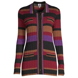 NWT Sui by Anna Sui Striped Metallic Knit Cardigan